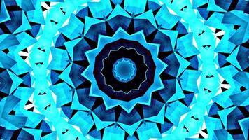 loop padrão de sequência de caleidoscópio de estrela azul arte digital video