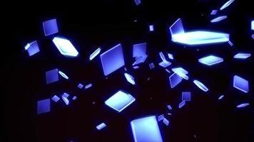 molte scatole blu incandescenti si muovono in loop sul nero video