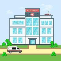 Modern cartoon hospital vector illustration