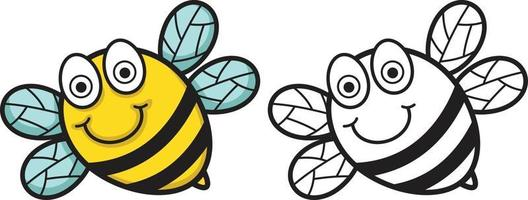 colorful and black and white bee for coloring book vector