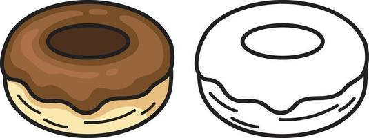 colorful and black and white donut for coloring book vector