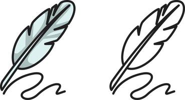 colorful and black and white quill for coloring book vector