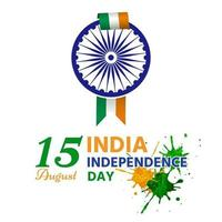 Independence day of india has a wheel attached to ribbon vector