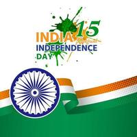 India independence day with green ribbon vector