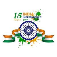 ndia independence day has a wheel in the center attached to ribbon vector