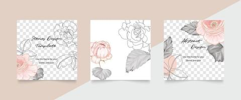 Rose cover template. floral invitation and card design vector. vector