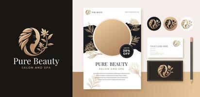 beauty floral woman logo design vector