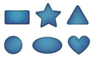 Set of blue denim patches with stitch. Light blue denim. Patches vector