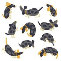 Hand drawn vector collection of playing spotted dachshunds
