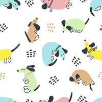 Bright multicolor summer seamless pattern of dachshunds and drops vector
