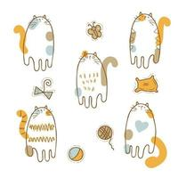 Set of three-colored kittens and cats toys vector