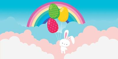 Easter bunny flying with balloons on cloudy sky background vector
