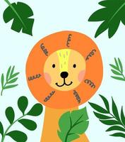 Hand drawn vector lion in frame of tropical leaves. Cute illustration