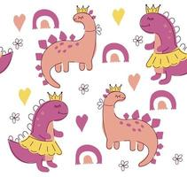 Girl dinos seamless pattern. Cute dinosaurs vector