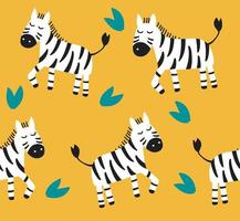 Pattern with cute zebras on yellow background. Kids vector