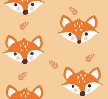 Seamless pattern with cute foxes and leaves vector