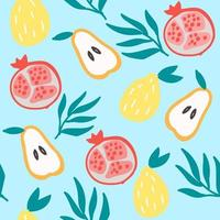 Seamless vector pattern with pear, pomegranate, lemon