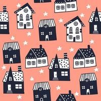 Night illustration with houses. Scandinavian style. Seamless vector