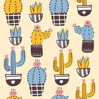 Vintage seamless background with cactuses in bloom vector