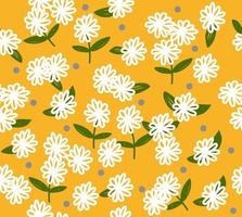 White flowers on yellow background. Seamless pattern vector