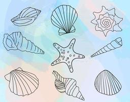 Hand-drawn seashell collection on watercolor background. vector