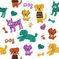 Colourful dogs isolated on white background. Seamless vector