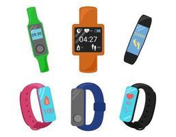 Conjunto de pulseras de fitness. bandas inteligentes aisladas. rastreador digital para deporte vector