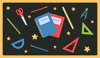 Vector set of school stationary in flat style