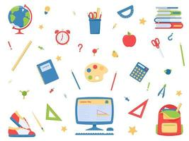 Vector set of school items in flat style