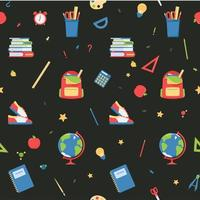 Seamless pattern of school items in flat style vector