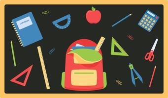 Vector set of school items feeds in flat style