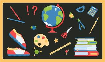 Set of school items for lessons in flat style vector