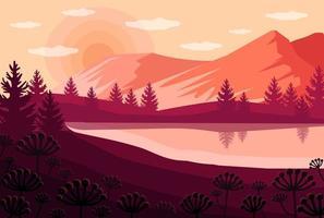 Vector cartoon sunset landscape with peach sky