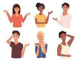 Set of different thoughtful people vector illustration.