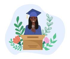 Happy smiling student giving graduation speech vector