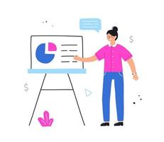 Business woman point at presentation screen board. vector