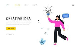 Creative idea. Woman with lamp. Landing page template. vector