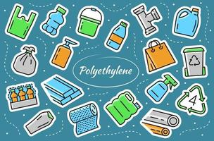 Low density polyethylene - sticker elements set. LDPE products. vector