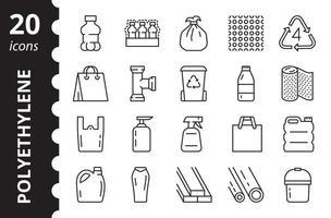 Low density polyethylene - linear icons set. Vector symbols.