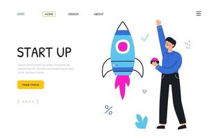 Start up new project. Businessman launches a rocket. Landing page. vector