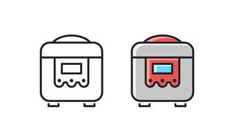 Multi cooker - linear icon. Simple vector slow cooker.