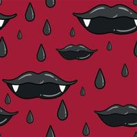 Seamless pattern with vampire female lips. vector