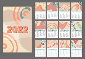 2022 calendar template, Set 12-month pages. vector