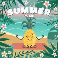 Summer time. Cute pineapple meditates, does yoga in the lotus position vector