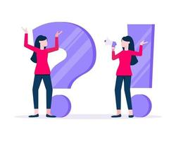 Q and A concept with tiny woman people with question, exclamation mark vector