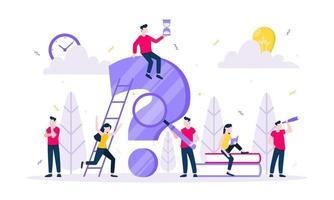 q y a o faq concepto con carácter de personas diminutas con gran pregunta vector