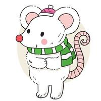Hand draw cartoon cute white mouse wearing green scarf vector. vector