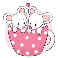 Hand draw cartoon cute mouse fall in love inside coffee cup vector. vector