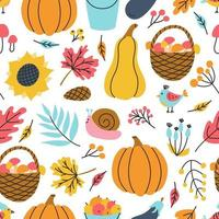 Pumpkins, mushrooms, berries. Autumn vector seamless pattern