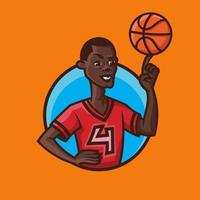 Basketball player spinning ball on his finger in cartoon style. vector